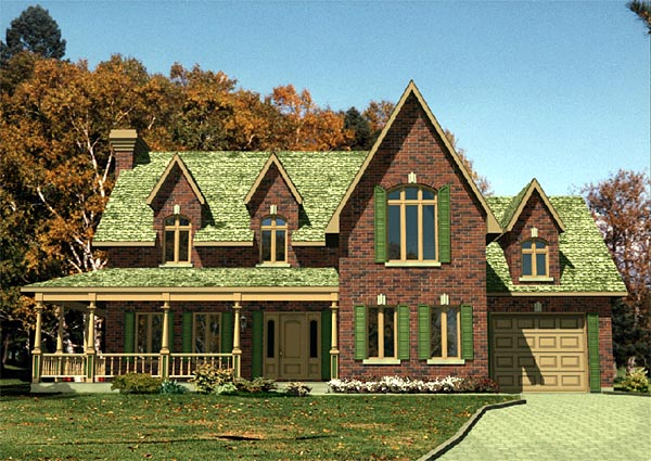 Farmhouse House Plan 48116 with 3 Beds, 2 Baths, 1 Car Garage Elevation