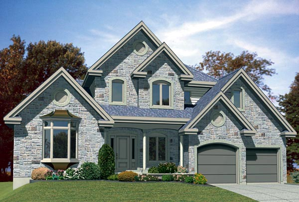 European House Plan 48117 with 3 Beds, 2 Baths, 2 Car Garage Front Elevation