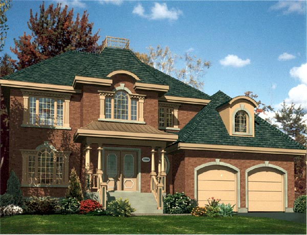 Colonial House Plan 48118 with 3 Beds, 3 Baths, 2 Car Garage Elevation