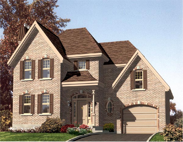 Narrow Lot, Traditional House Plan 48119 with 3 Beds, 2 Baths, 1 Car Garage Elevation