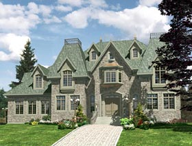 European House Plan 48136 with 4 Beds, 3 Baths, 2 Car Garage Elevation