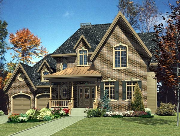 House Plan 48140 | Traditional Style Plan with 2148 Sq Ft, 4 Bedrooms, 2 Bathrooms, 2 Car Garage Elevation