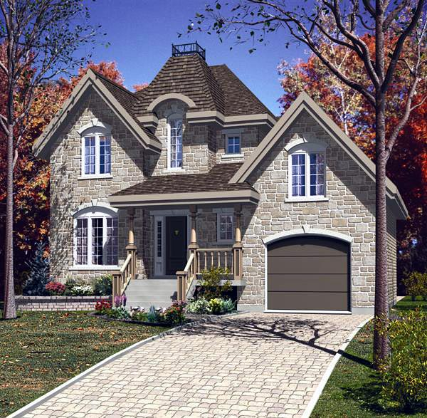House Plan 48142 | Victorian Style Plan with 1689 Sq Ft, 3 Bedrooms, 2 Bathrooms, 1 Car Garage Elevation