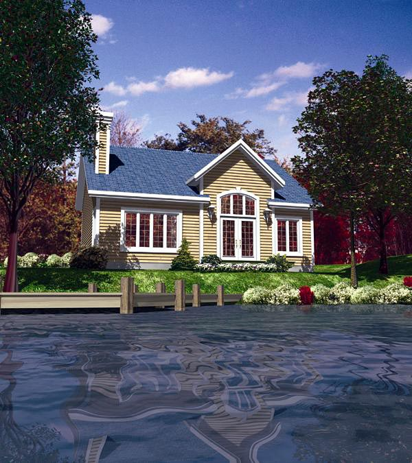 Narrow Lot, One-Story, Traditional House Plan 48157 with 2 Beds, 1 Baths Front Elevation