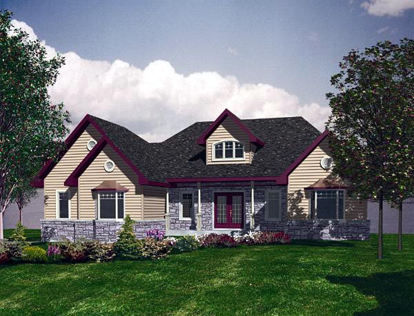 Traditional House Plan 48161 with 2 Beds, 2 Baths, 2 Car Garage Elevation
