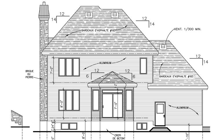 European House Plan 48168 Rear Elevation