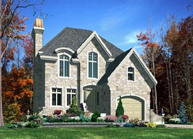 European House Plan 48169 with 3 Beds, 2 Baths, 1 Car Garage Elevation