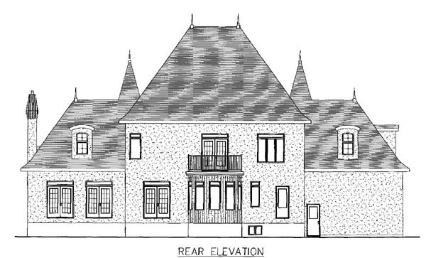 European House Plan 48180 Rear Elevation