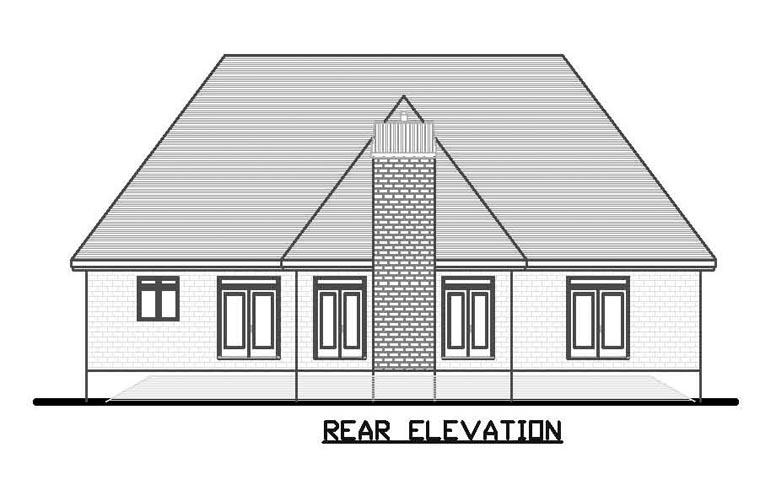 European House Plan 48182 Rear Elevation
