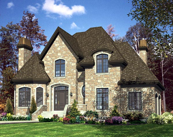 House Plan 48184 | European Style Plan with 2189 Sq Ft, 2 Bedrooms, 3 Bathrooms, 2 Car Garage Elevation