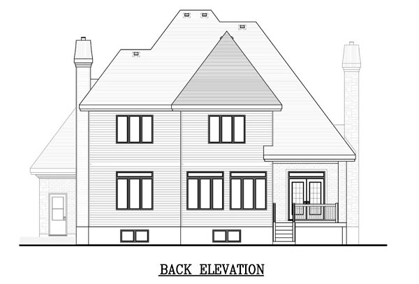 House Plan 48184 | European Style Plan with 2189 Sq Ft, 2 Bedrooms, 3 Bathrooms, 2 Car Garage Rear Elevation