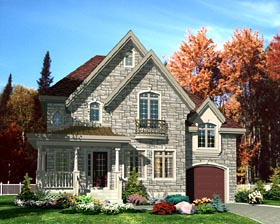 House Plan 48185 | European Style Plan with 1566 Sq Ft, 3 Bedrooms, 2 Bathrooms, 1 Car Garage Elevation