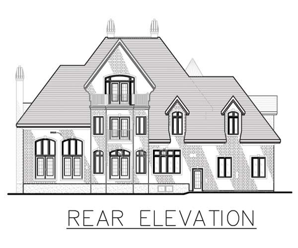 European House Plan 48195 with 4 Beds, 3 Baths, 2 Car Garage Rear Elevation