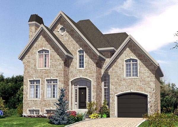 House Plan 48208 | Tudor Style Plan with 1553 Sq Ft, 3 Bedrooms, 2 Bathrooms, 1 Car Garage Elevation