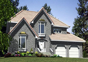 European House Plan 48216 with 4 Beds, 3 Baths, 2 Car Garage Elevation