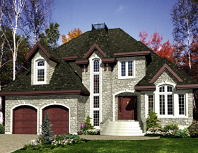 House Plan 48220   European Style Plan with 2177 Sq Ft, 3 Bedrooms, 2 Bathrooms, 2 Car Garage Elevation