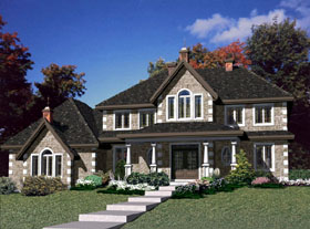 House Plan 48232   European Style Plan with 2679 Sq Ft, 4 Bedrooms, 3 Bathrooms, 2 Car Garage Elevation