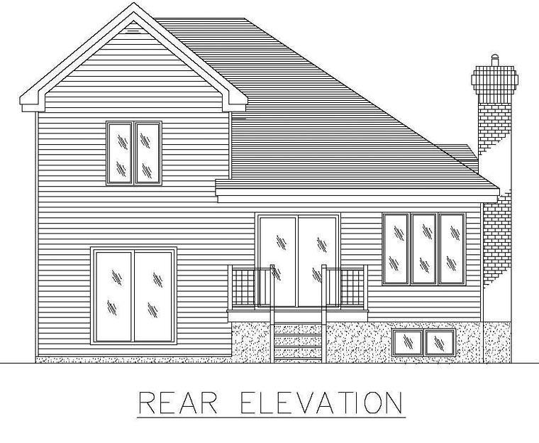 European House Plan 48242 Rear Elevation