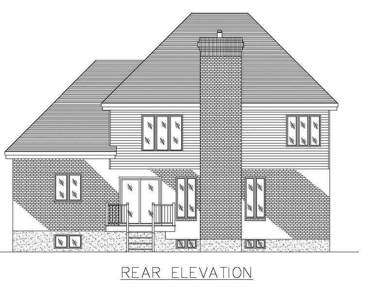 European House Plan 48249 Rear Elevation