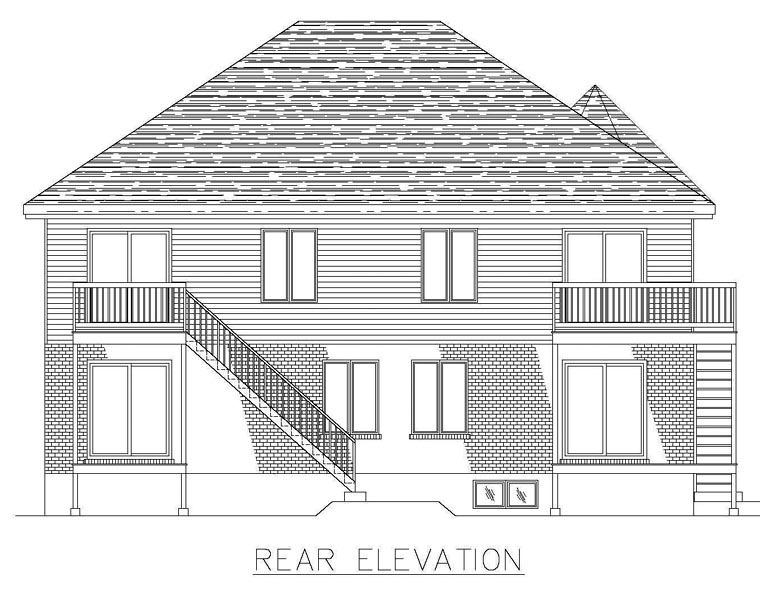 European House Plan 48251 Rear Elevation