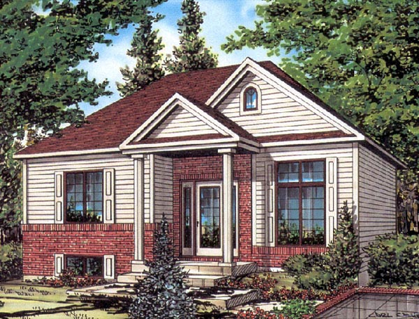 European House Plan 48253 with 2 Beds, 1 Baths Front Elevation