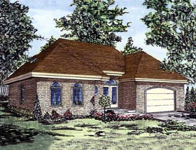House Plan 48254 | European Style Plan with 1611 Sq Ft, 2 Bedrooms, 1 Bathrooms, 1 Car Garage Elevation