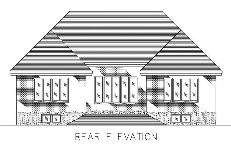 European House Plan 48254 Rear Elevation