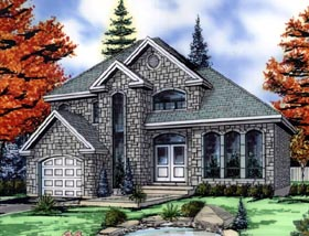 House Plan 48259 | European Style Plan with 2038 Sq Ft, 3 Bed, 2 Bath, 1 Car Garage Elevation