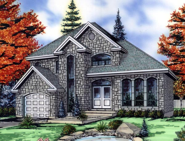 European House Plan 48259 with 3 Beds, 2 Baths, 1 Car Garage Elevation