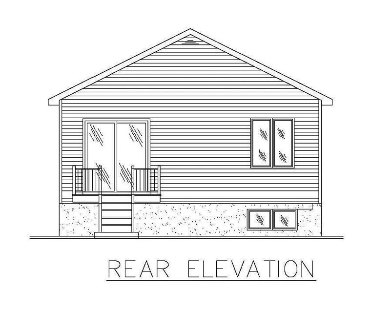 European House Plan 48260 with 2 Beds, 1 Baths Rear Elevation