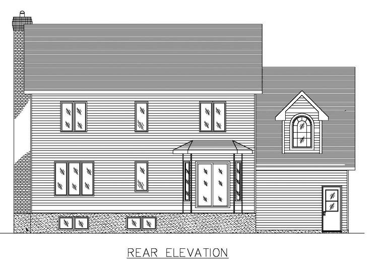 Country , European , Rear Elevation of Plan 48261