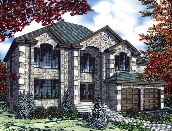 European House Plan 48263 with 4 Beds, 3 Baths, 2 Car Garage Elevation