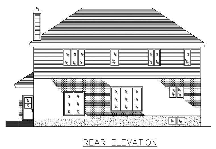 European House Plan 48263 Rear Elevation