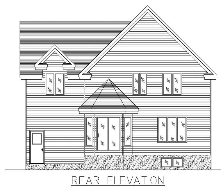 Colonial House Plan 48266 Rear Elevation