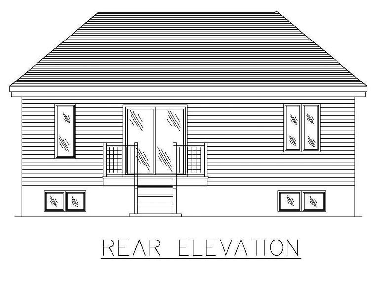 European House Plan 48269 with 2 Beds, 1 Baths Rear Elevation