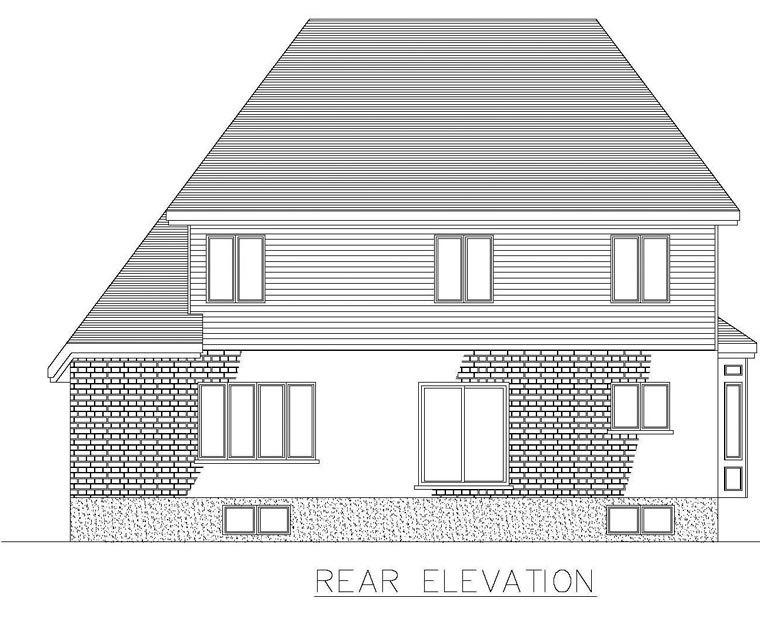 House Plan 48273 | Style Plan with 2658 Sq Ft, 4 Bedrooms, 3 Bathrooms, 2 Car Garage Rear Elevation