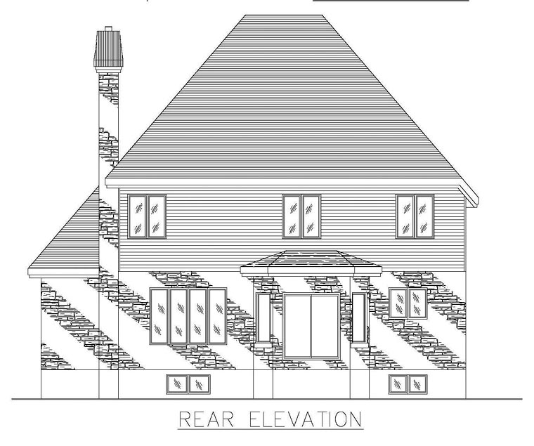 European House Plan 48279 Rear Elevation