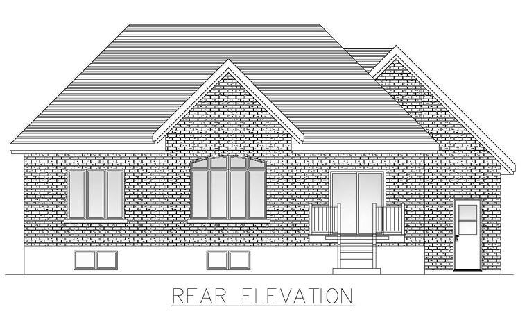 European House Plan 48286 Rear Elevation