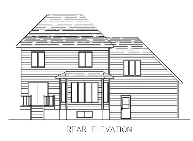 European House Plan 48293 Rear Elevation