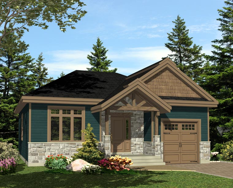 House Plan 48295 with 3 Beds, 2 Baths, 1 Car Garage Rear Elevation
