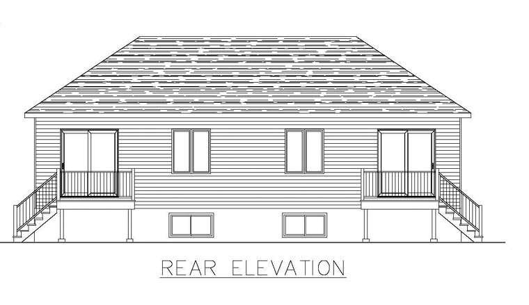 Multi-Family Plan 48296 | Style Plan with 3076 Sq Ft, 8 Bedrooms, 4 Bathrooms Rear Elevation