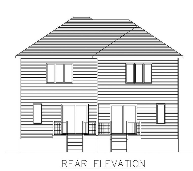 Rear Elevation of Plan 48297