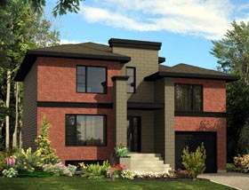 House Plan 48299 | Contemporary Style Plan with 1643 Sq Ft, 3 Bed, 2 Bath, 1 Car Garage Elevation