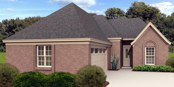 European House Plan 48317 with 2 Beds, 2 Baths, 2 Car Garage Elevation
