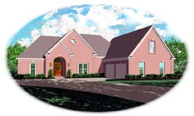 House Plan 48506 | European Traditional Style Plan with 2765 Sq Ft, 3 Bedrooms, 2 Bathrooms, 2 Car Garage Elevation