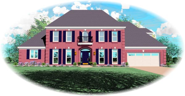 House Plan 48509 | European, Traditional Style House Plan with 3668 Sq Ft, 3 Bed, 5 Bath, 2 Car Garage Elevation