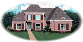 European House Plan 48515 with 4 Beds, 4 Baths, 3 Car Garage Elevation
