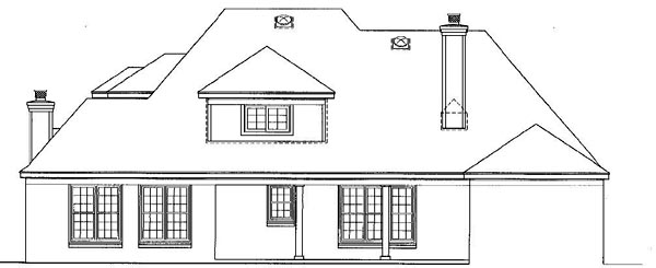 European House Plan 48521 Rear Elevation