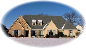European , Country House Plan 48525 with 3 Beds, 2 Baths, 2 Car Garage Elevation