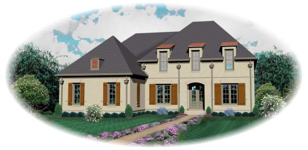 House Plan 48526 | Country European Style Plan with 3696 Sq Ft, 4 Bedrooms, 5 Bathrooms, 3 Car Garage Elevation